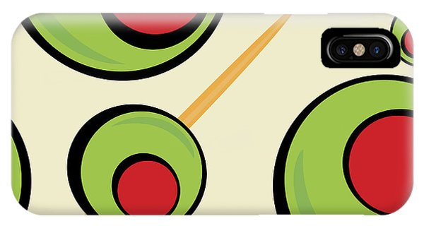 Ingredient iPhone Case - A Green Olives Pattern That Tiles by Arena Creative
