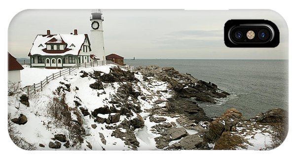 Strength iPhone Case - A Large Wreath Is Hung On Portland Head by Allan Wood Photography