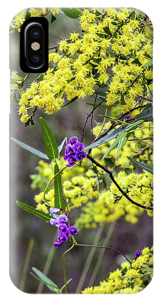 IPhone Case featuring the photograph A Little Bit Of Purple Coral Pea by Elaine Teague