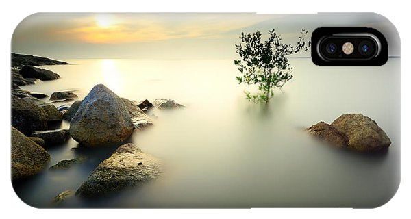 Motion Blur iPhone Case - A Lone Tree Partially Submerged In The by Shahrulnizamks
