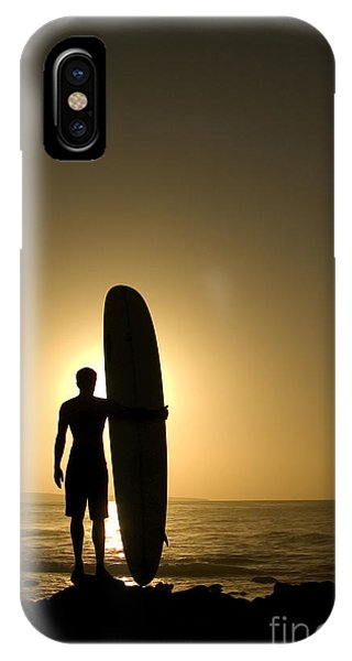 Surfboard iPhone Case - A Longboarder Watching He Waves At by Richard Clarke