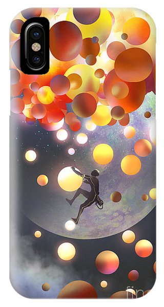 Celebration iPhone Case - A Man Climbing Fantasy Balloons Against by Tithi Luadthong