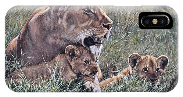 IPhone Case featuring the painting A Quiet Moment Lioness And Lion Cubs by Alan M Hunt