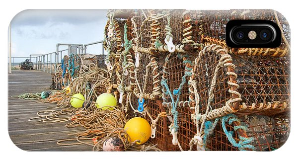 Sea Life iPhone Case - A Selection Of Lobster Pots On The by Djtaylor