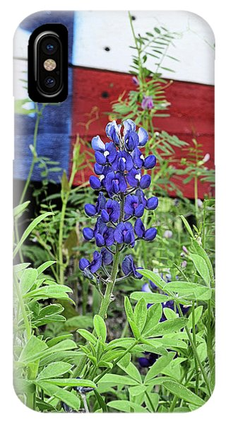 A Single Blue Bonnet With The Texas Flag IPhone Case