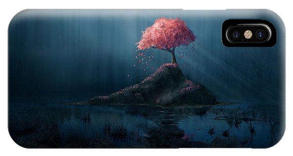 Beams iPhone Case - A Single Pink Tree In A Dark Blue by Amanda Carden