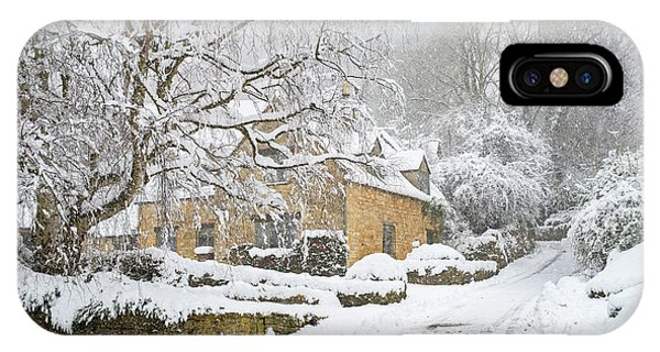 English Village iPhone Case - A Snowshill Winter by Tim Gainey