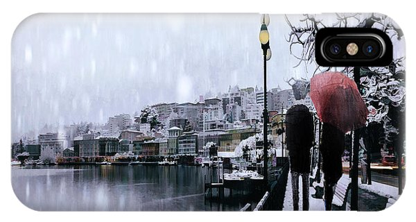Park Bench iPhone Case - A Snowy Walk by Tim Palmer