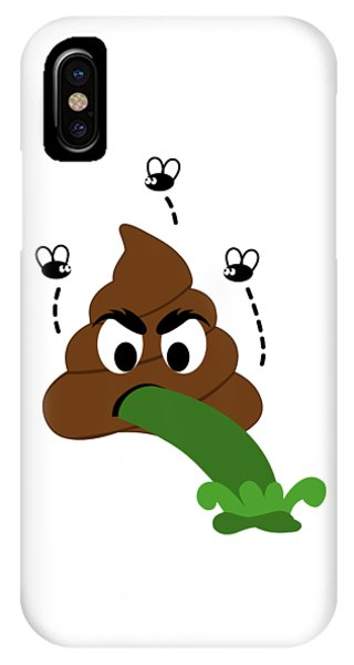 Toilet Humor iPhone Case - A Stinky Poop Puking With House Flies Around by Shawlin