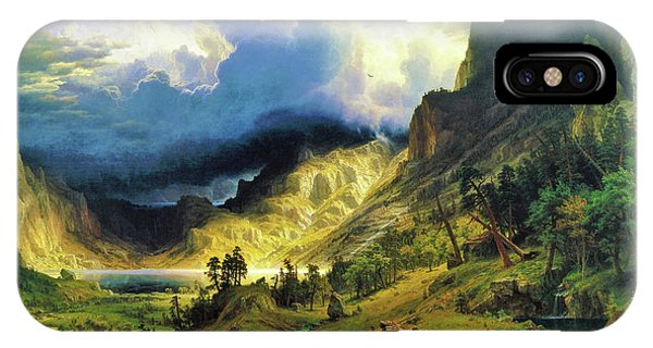 Rocky Mountain iPhone Case - A Storm In The Rocky Mountains, Mt Rosalie - Digital Remastered Edition by Albert Bierstadt