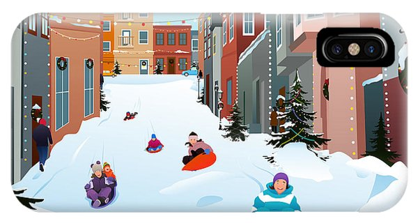 Winter Fun iPhone Case - A Vector Illustration Of Kids Sledding by Artisticco