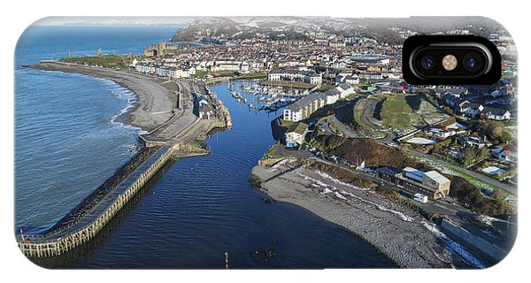Aberystwyth Harbour From The Air In Winter IPhone Case