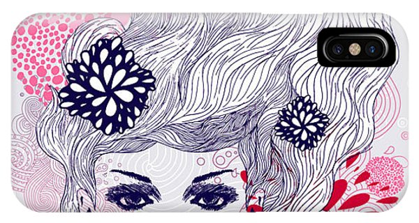 Vector Graphics iPhone Case - Abstract Beautiful Hand-drawn Woman by Axro