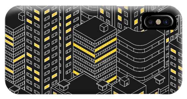 Office Buildings iPhone Case - Abstract Black Seamless Pattern by Svetlana Avv