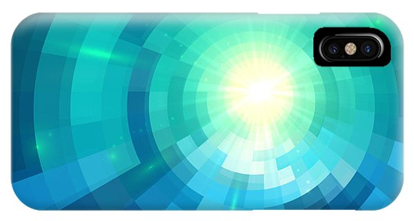 Fire Ball iPhone Case - Abstract Blue Shining Circle Tunnel by Art of sun