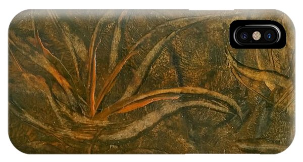 Abstract Brown/orange Floral In Encaustic IPhone Case