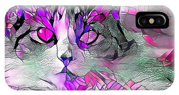 Abstract Calico Cat Purple Glass IPhone Case