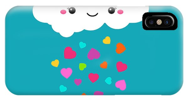 Baby Blue iPhone Case - Abstract Cute Cartoon Vector Rainy by Alextanya