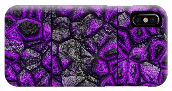 IPhone Case featuring the digital art Abstract Deep Purple Stone Triptych by Don Northup