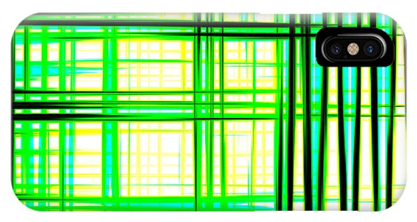 Abstract Design With Lines Squares In Green Color Waves - Pl409 IPhone Case