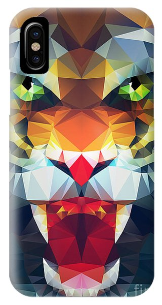 Danger iPhone Case - Abstract Polygonal Tiger. Geometric by Merfin