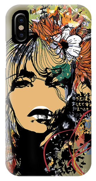 Abstract Print With Female Face Phone Case by Alisa Franz