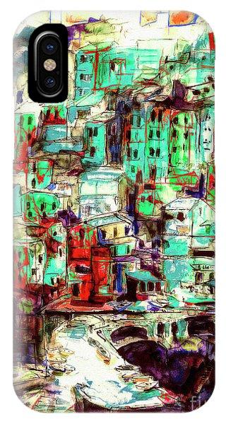 Abstract Riomaggiore Cinque Terre Art IPhone Case