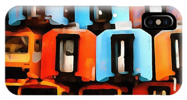 Trolley Car iPhone Case - Abstract Stacked Trolleys by Edward Fielding