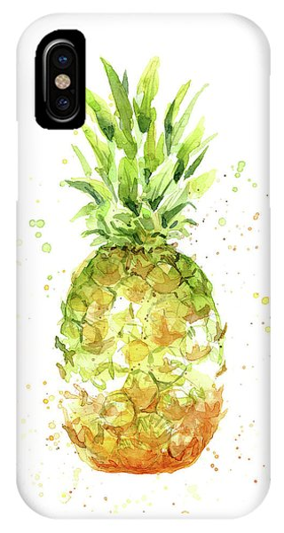 Summer Fruit iPhone Case - Abstract Watercolor Pineapple by Olga Shvartsur