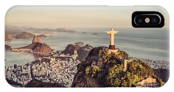 South America iPhone Case - Aerial Panorama Of Botafogo Bay And by Marchello74