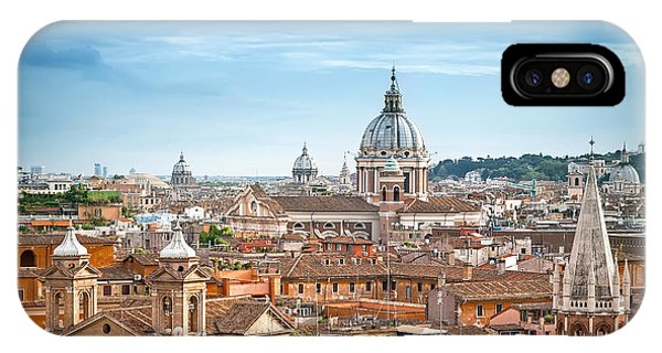Ancient Rome iPhone Case - Aerial Panoramic Cityscape Of Rome by Mariia Golovianko