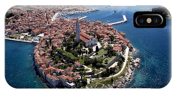 Historic House iPhone Case - Aerial Shoot Of Old Town Rovinj, Istra by Igor Karasi