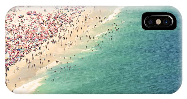 South America iPhone Case - Aerial Summer View Of Crowded Ipanema by Lazyllama