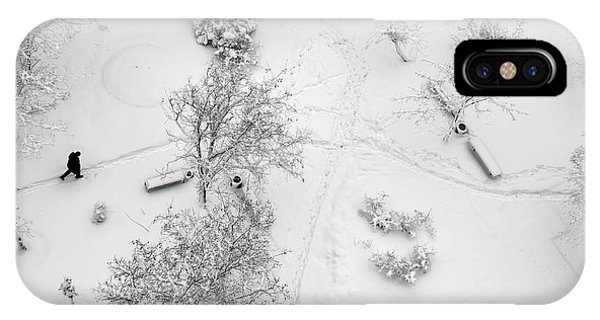 Park Bench iPhone Case - Aerial Top View On A Winter Park With by Kirill Smirnov