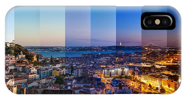 Rooftops iPhone Case - Aerial View Montage Of Lisbon Rooftop by Samuel Borges Photography