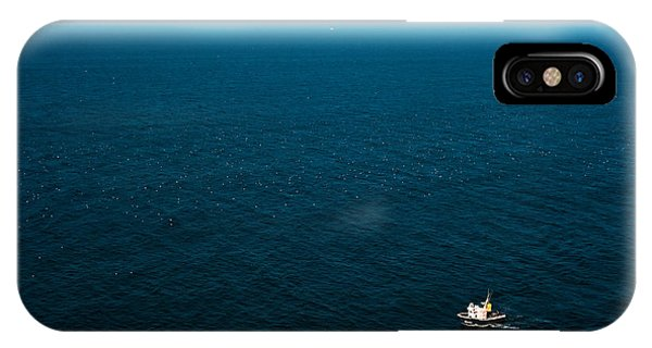 Serenity iPhone Case - Aerial View Of A Lonely Boat In The by Alberto Pérez Veiga