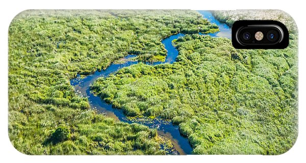 Delta iPhone Case - Aerial View Of A Small Stream And Lush by Efimova Anna