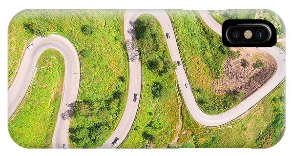 Spring Mountains iPhone Case - Aerial View Of Crooked Path Of Road On by Naypong Studio