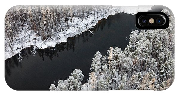 Aerial View Of Forest River In Cold Phone Case by Vladimir Melnikov