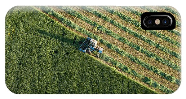Airplanes iPhone Case - Aerial View Of Harvest Fields With by Mariusz Szczygiel