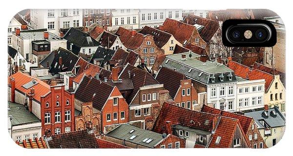Fairy Tales iPhone Case - Aerial View Of Old German Town Of Lubeck by Boris Stroujko