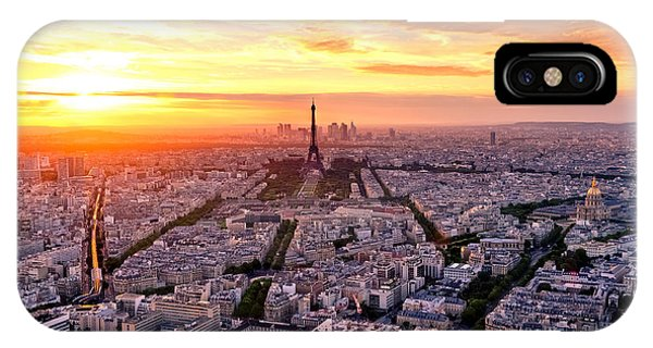 Cloudscape iPhone Case - Aerial View Of Paris At Sunset by Interpixels