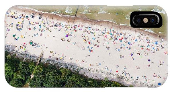 Seashore iPhone Case - Aerial View Of Sandy Polish Beach On by Mariusz Szczygiel