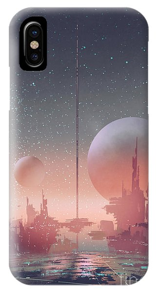 Space iPhone Case - Aerial View Of Sci-fi City With by Tithi Luadthong