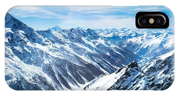 Airplanes iPhone Case - Aerial View Of The Alps Mountains In by Famveld