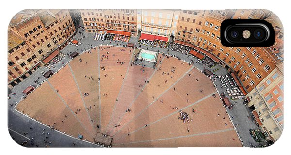 Rooftops iPhone Case - Aerial View Of The Piazza Del Campo by Mihai-bogdan Lazar