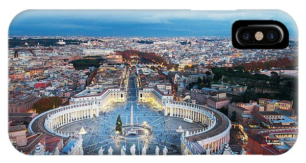 Ancient Rome iPhone Case - Aerial View On Rome, Italy. Evening by Studio Dagdagaz