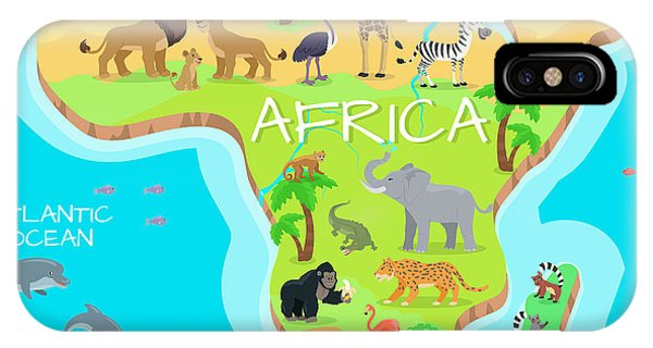 Dolphin iPhone Case - Africa Mainland Cartoon Map With Local by Robuart