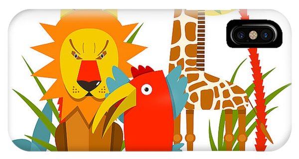 Parrots iPhone Case - African Animals. Giraffe Whale Lion by Popmarleo