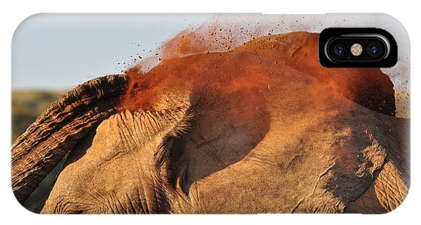 Mammal iPhone Case - African Elephant Throwing Dust Around by Michael Potter11